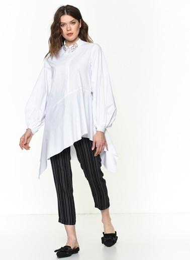 Si Design Asimetrik Kesim Gömlek Beyaz